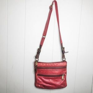 Fossil red leather Hobo bag purse